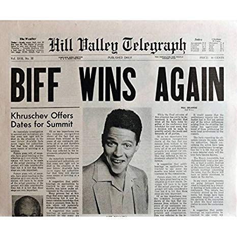 A Hill Valley Telegraph newspaper from Back to the future